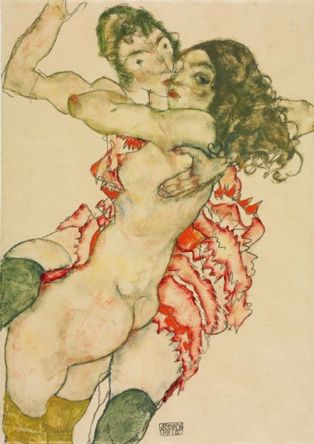 Schiele, Egon: Two Women Embracing. Fine Art Print/Poster. Sizes: A4/A3/A2/A1 (003731)